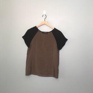 Zara Basic | tan and black striped tee small